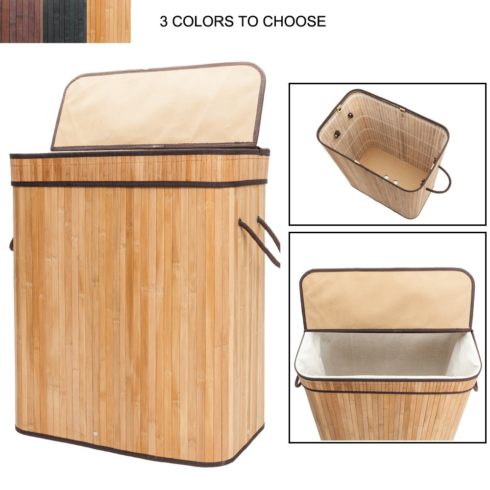 Bonnlo Large Capacity Folding Laundry Basket with 2 Lid Handles and Removable Liner Bamboo Hampers Dirty Clothes Storage Rectangular 20 3/5 W x 13 1/5 D x 24 2/5 H (Natural)