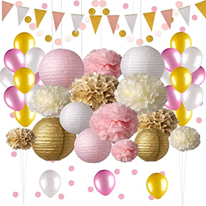 Pink and Gold Party Decorations, 5 pc Pink Party Supplies, Paper Pom Poms,  Paper Lanterns, Glitter Garlands, Balloons, Confetti- Birthday Party -