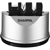 SHARPAL 191H Pocket Kitchen Chef Knife and Scissors Sharpener for Straight and Serrated Knives, 3-Stage Knife Sharpening…