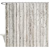 CafePress - Shabby Chic White Barn Wood - Decorative Fabric Shower Curtain