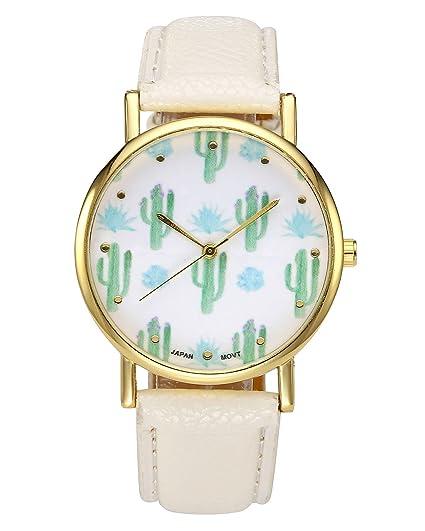 jsdde Relojes, Cute Cactus kaktee gewächse Diseño Reloj de Pulsera Mujer Bonito diseño de Moda Cuero PU analógico de Cuarzo Vogue Reloj de Cuarzo, ...