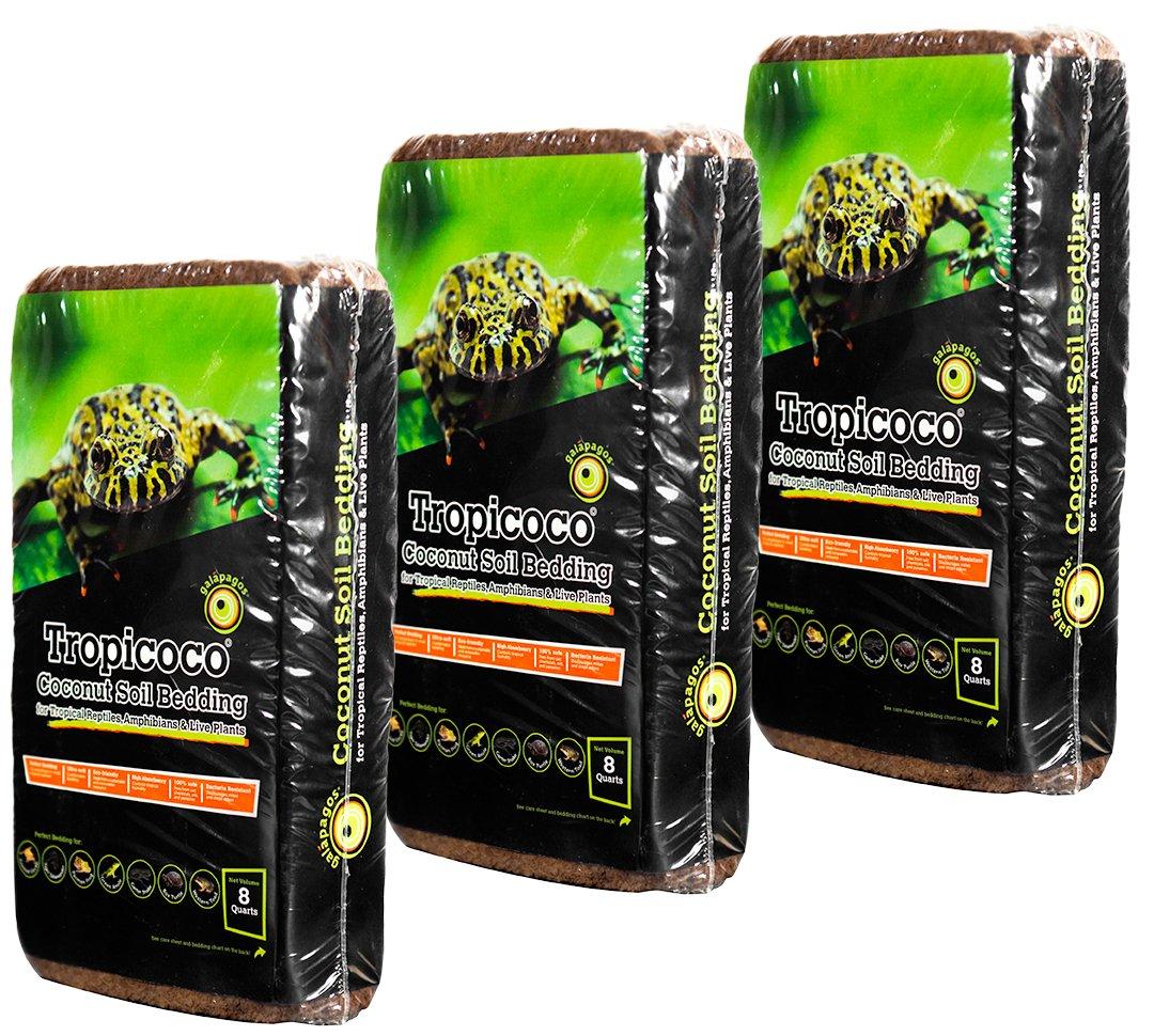 Galapagos Tropicoco Soil Natural 8 quart Brick, 3 Pack 05009