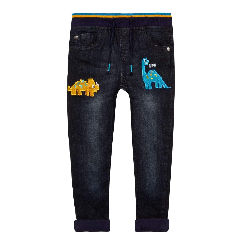 bluezoo Kids Boys' Blue Dinosaur Embroidered Slim Fit Jeans