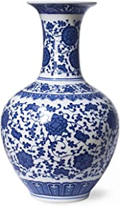 Dahlia Ancient Lotus Motif Blue and White Porcelain Flower Vase, 13 Inches, Chinese Bottle Vase