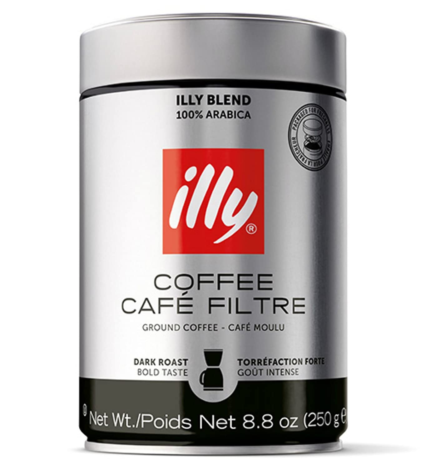 illy Caffe Scuro Drip Grind (Dark Roast, Brown Band), 8.8-Ounce Tins (Pack of 3)