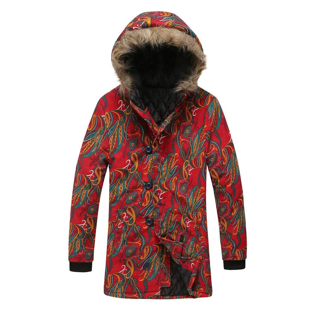 wuliLINL Mens Floral Print Hooded Warm Winter Thicken Cotton-Padded Parkas Long Oversize Coats(Red,XXL) by wuliLINL