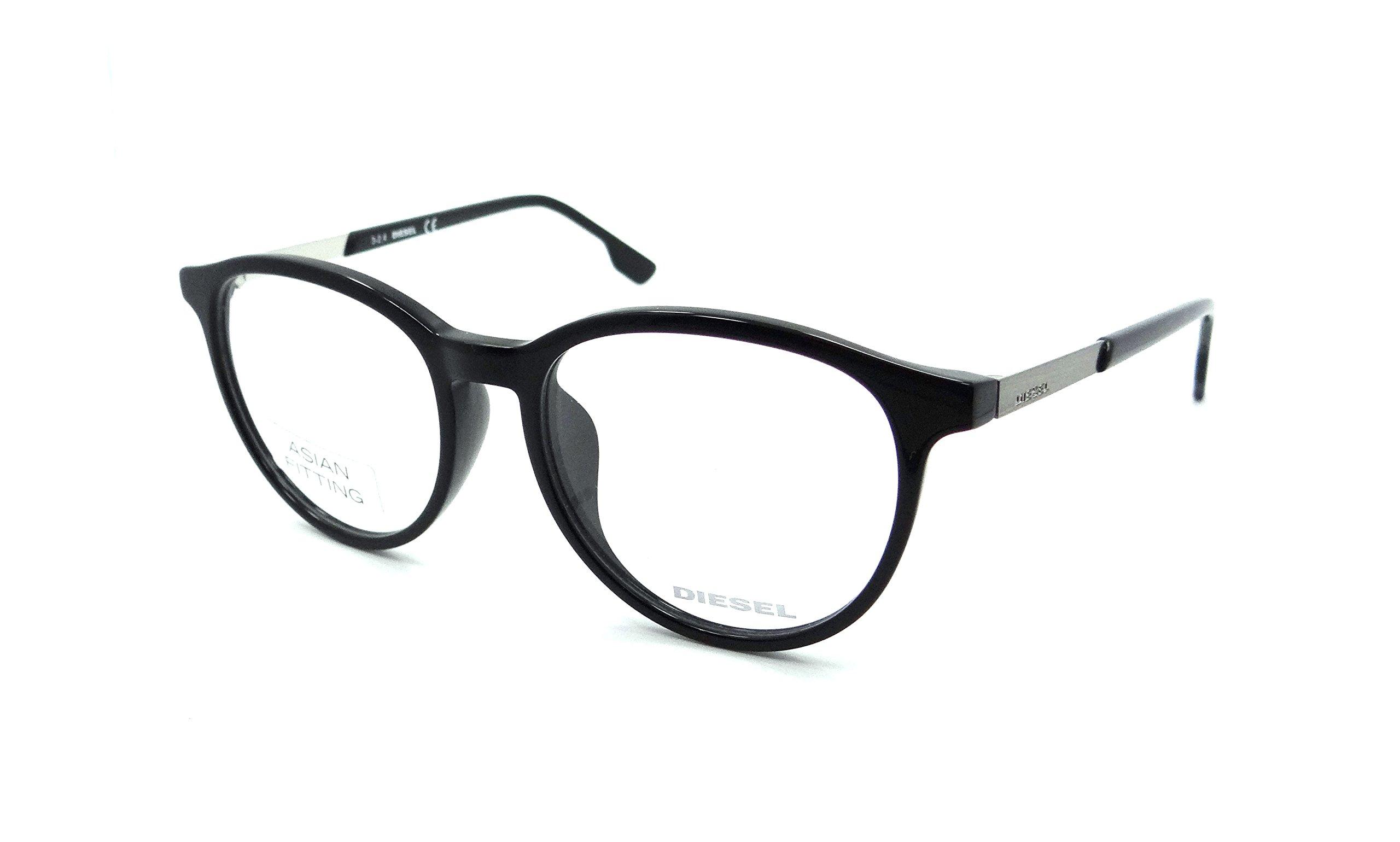 Diesel Rx Eyeglasses Frames DL5117-F 001 52-17-150 Shiny Black Asian Fit