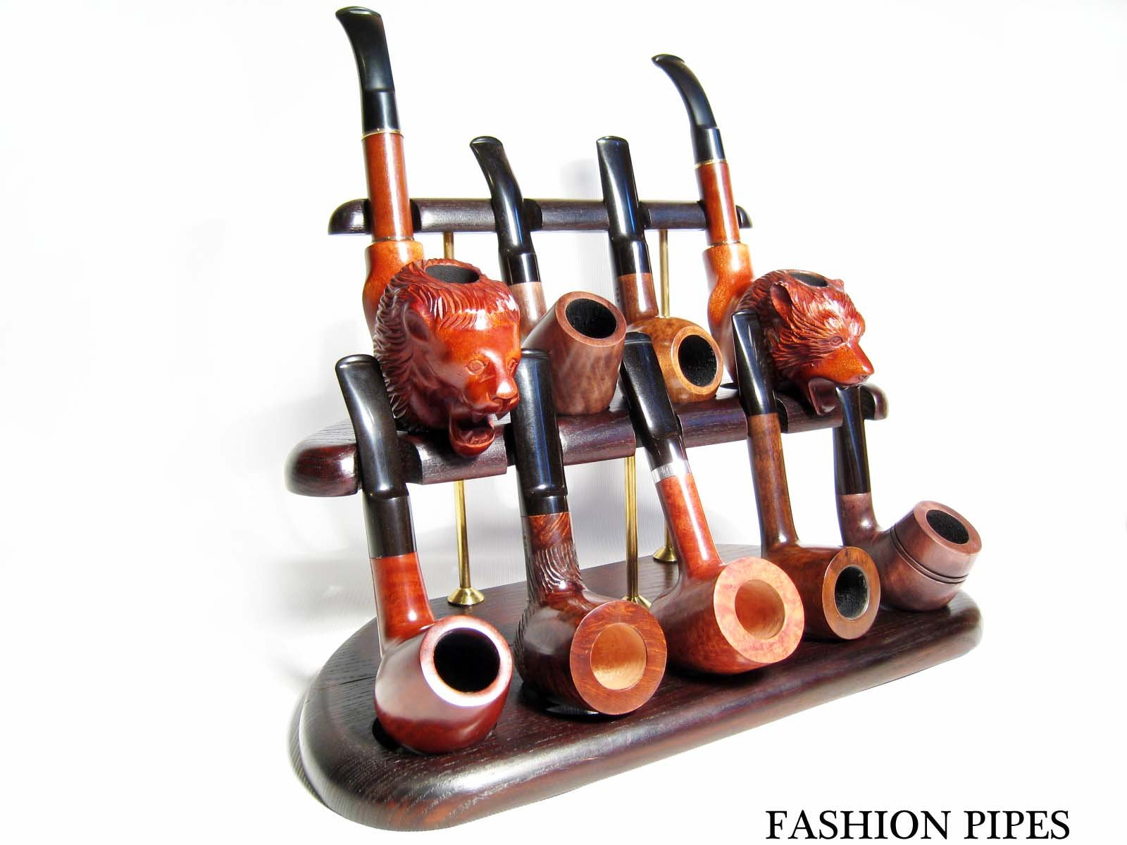 New Exceptional Wooden Pipe Stand for 9 Tobacco Smoking Pipe Handmade Ash-Tree … (1)