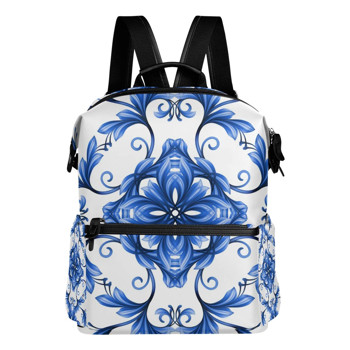 FAJRO, zaino da viaggio con motivo floreale astratto senza cuciture, blu e bianco Gzhel