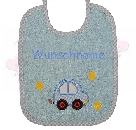 amelieswelt Babero Con Simpáticos Auto bordados bordado con nombres baberos de bautizo nacimiento spucktuch sabbertuch