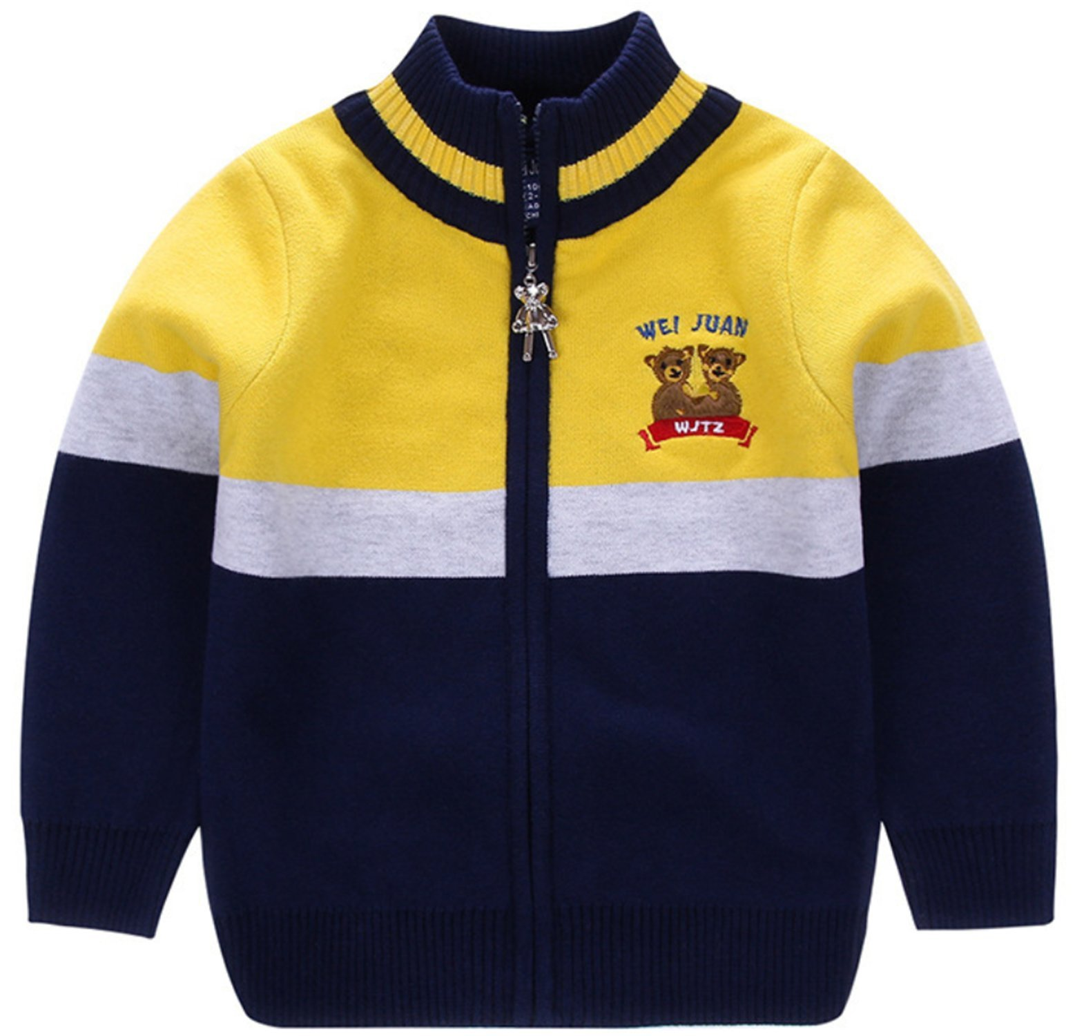 AUIE SAOSA Little Boys Spring and Autumn Stripe Knitted Cotton Coat zipper Cardigan Sweater Yellow Y130