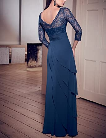 a8ecb4260bc OYISHA Womens V-Neck 3 4 Sleeve Lace Mother Of The Bride Dresses Formal