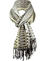Collection XIIX Broken Checks & Stripes Glitter Fringe Scarf
