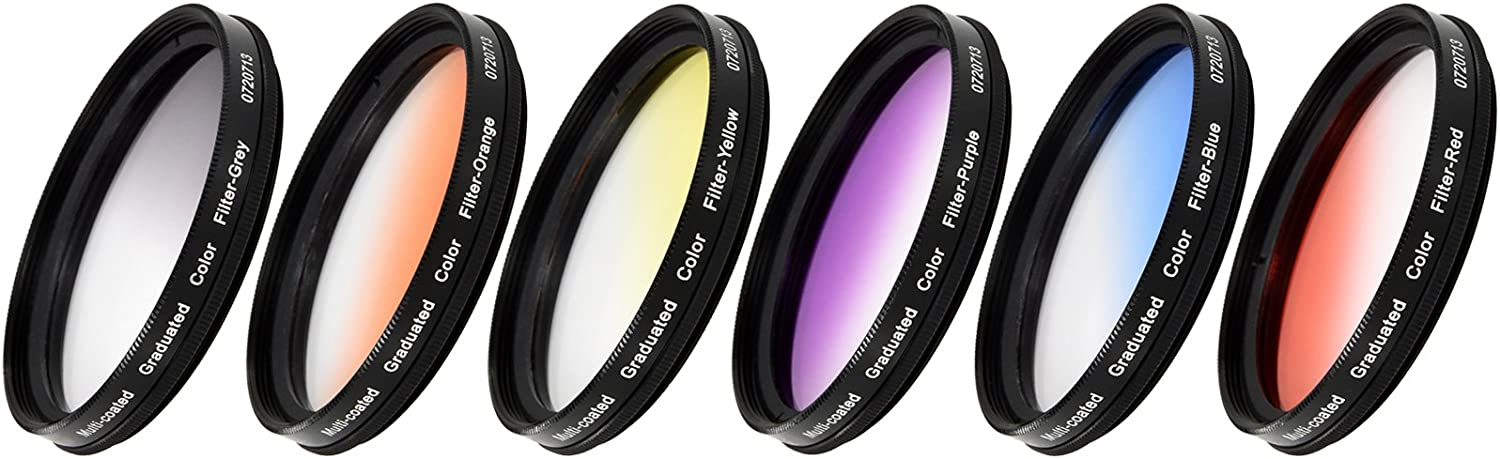 Grey /& Purple Yellow 72mm Vivitar 6-Piece Multi-Coated Rotating Graduated Color Filter Set Includes: Red Orange Blue
