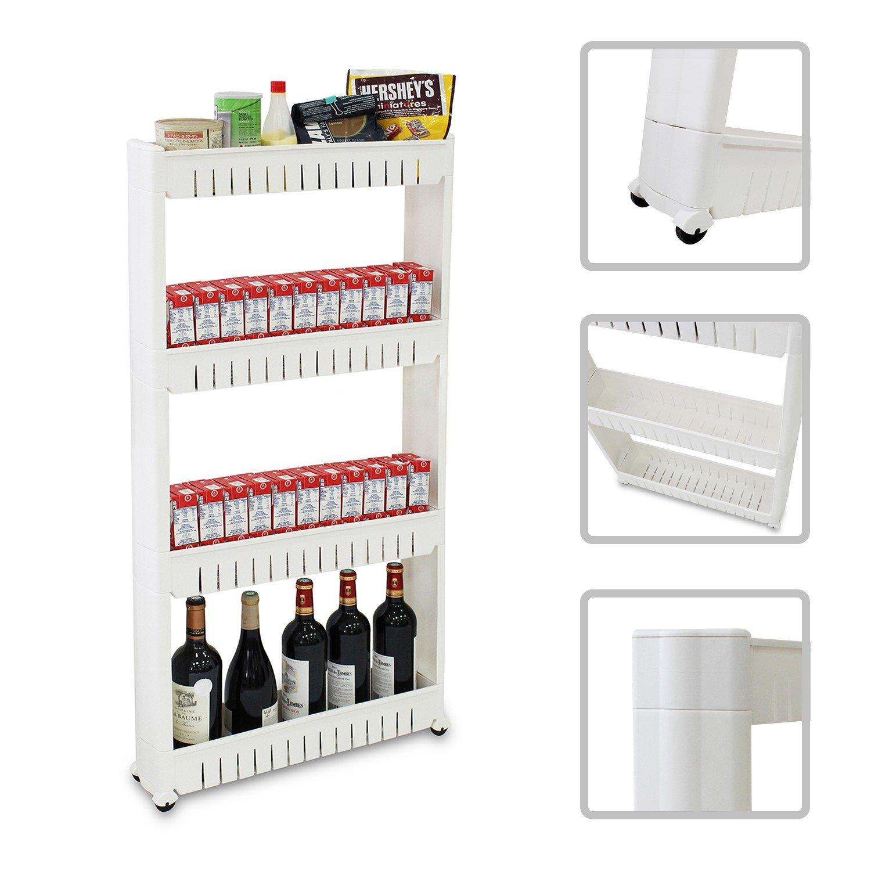 Todeco - Scaffale Con Ruote, Ripiani Salvaspazio - Materiale: Plastica - Peso: 2,44 kg - 4 scomparti, 112 x 54 x 12 cm, Bianco
