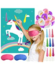 FEPITO Pin the Horn on the Unicorn Birthday Party Game with 24 Horns and 15PCS Unicorn Balloons for Unicorn Party Supplies, Kids Birthday Party Decorations
