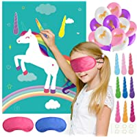 KUUQA Pin The Horn on The Unicorn Birthday Party Game with 24 Horns and 15PCS Unicorn Balloons for Unicorn Party Supplies, Kids Birthday Party Decorations
