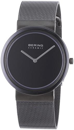 Bering Ceramic - Reloj analógico de caballero de cuarzo con correa de acero inoxidable negra - sumergible a 50 metros: Amazon.es: Relojes