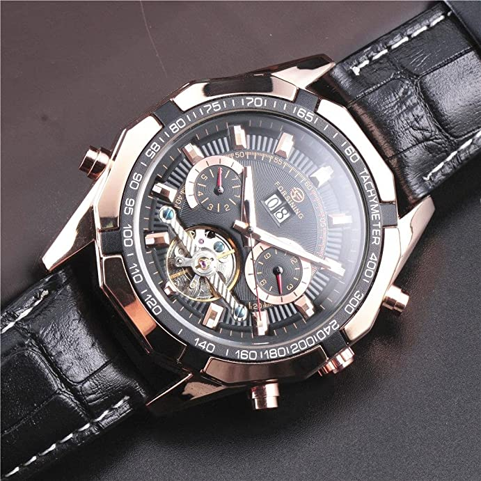 Amazon.com: Forsining Top Luxury Brand Leather Strap Tourbillon Movement Automatic Mechanical Men Wrist Watch: Watches