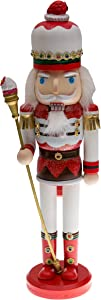 "Candyland Strawberry King Nutcracker | Red and White Uniform with Strawberry Hat | Holding Cupcake Scepter | Festive Christmas Decor | Unique Addition for Any Collection | 100% Wood | 15"" Tall"