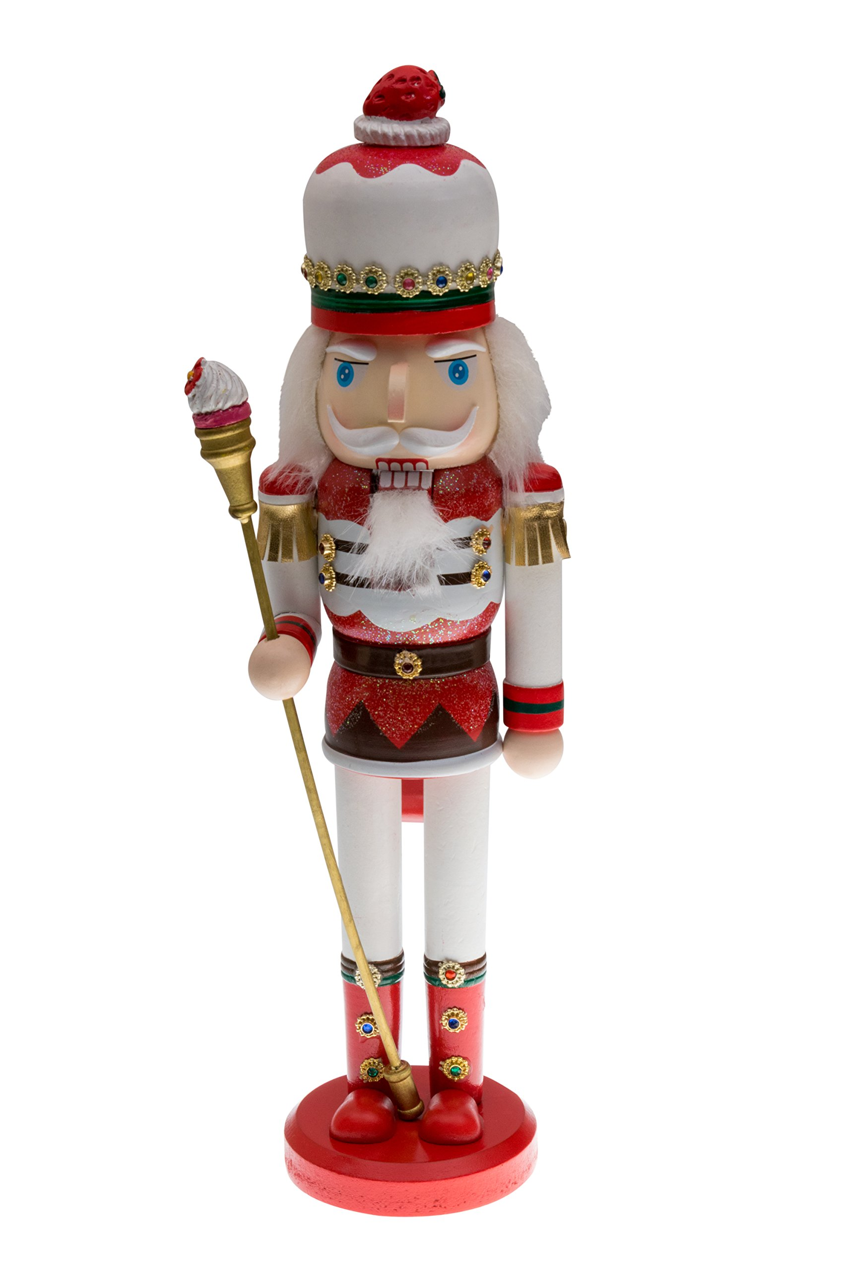 Candyland Strawberry King Nutcracker | Red and White Uniform with Strawberry Hat | Holding Cupcake Scepter | Festive Christmas Decor | Unique Addition for Any Collection | 100% Wood | 15'' Tall
