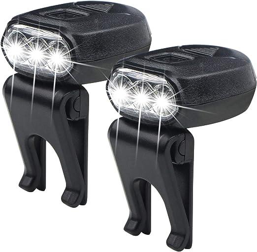 FISHNU 2pcs Thumb Size Cap Lamp,3 Led Baseball Hat Visor Light,360/° Rotating 90/°Adjustable Ball Cap Clip Light 2 Pack
