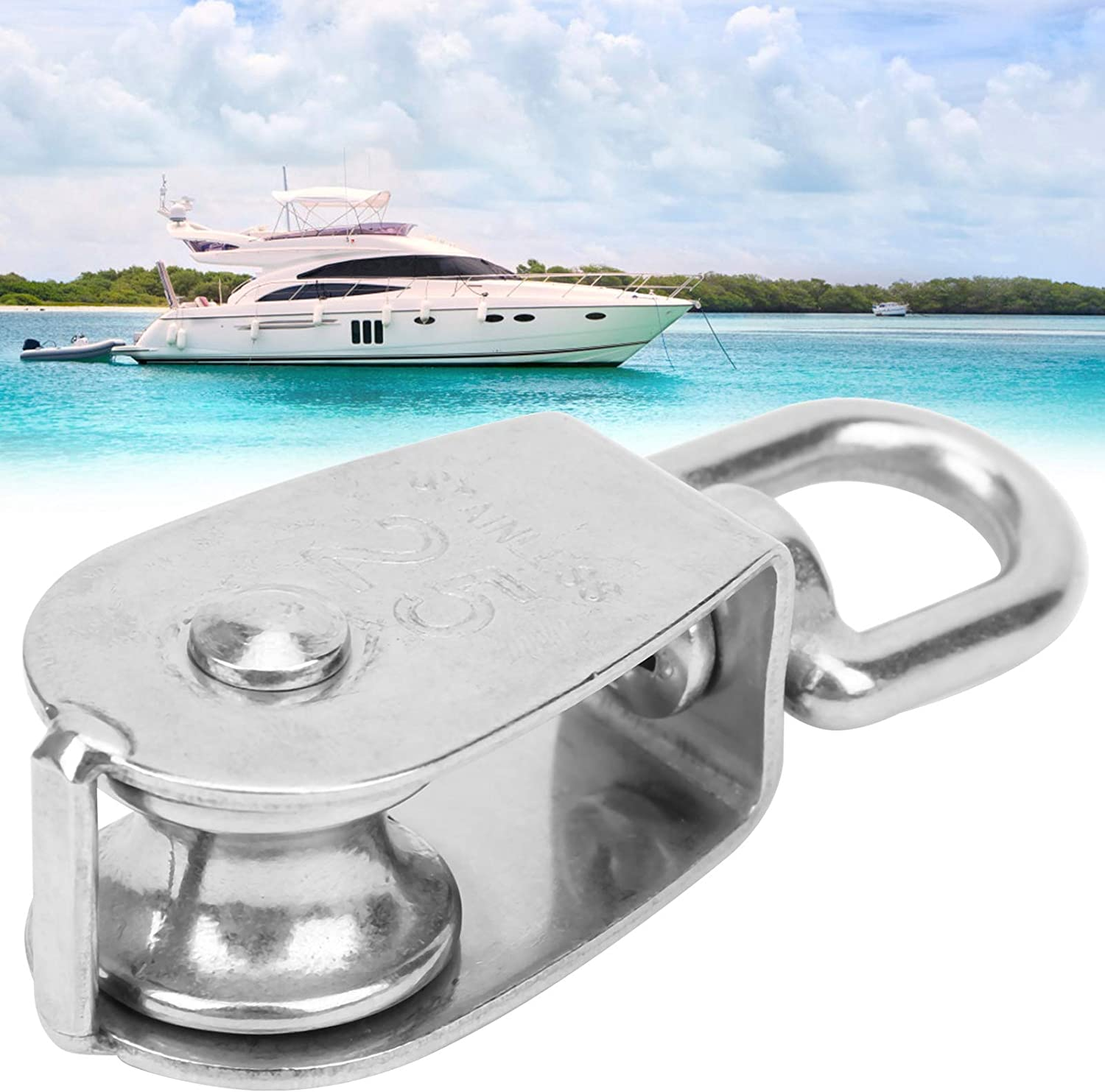 Anti‑Rust Portable for Fishing Boat Yacht 25mm Heavy Duty Pulley Wheel Pulley