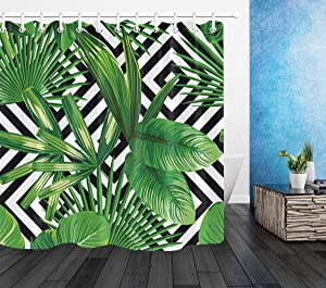 LB Banana Leaf Shower Curtain, Realistic Vivid Green Leaves of Palm Tree on Black White Background Tropical Plant Shower Curtain 72x72 Inch Waterproof Fabric with 12 Hooks