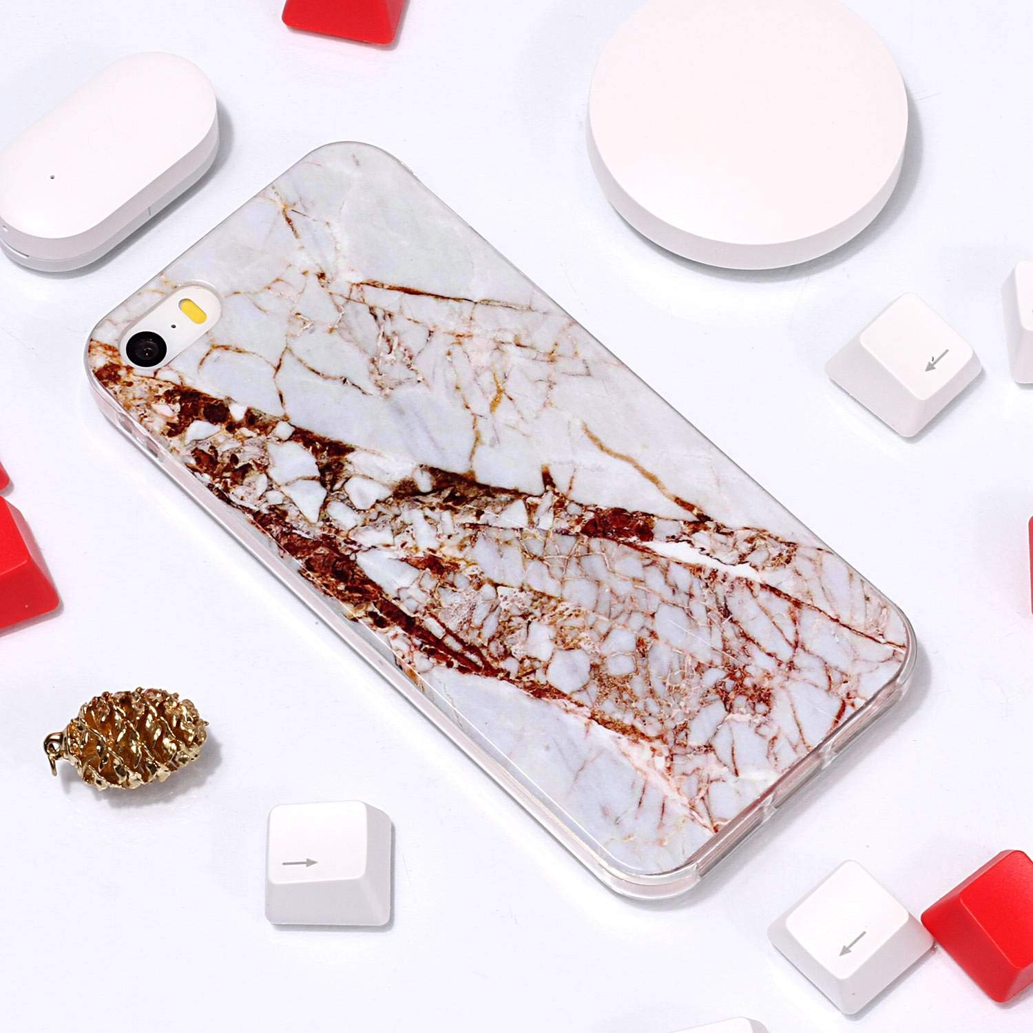 for iPhone 5/5S iPhone SE Marble Case with Screen Protector,Unique Pattern Design Skin Ultra Thin Slim Fit Soft Gel Silicone Case,QFFUN Shockproof Anti-Scratch Protective Back Cover - White by QFFUN (Image #4)