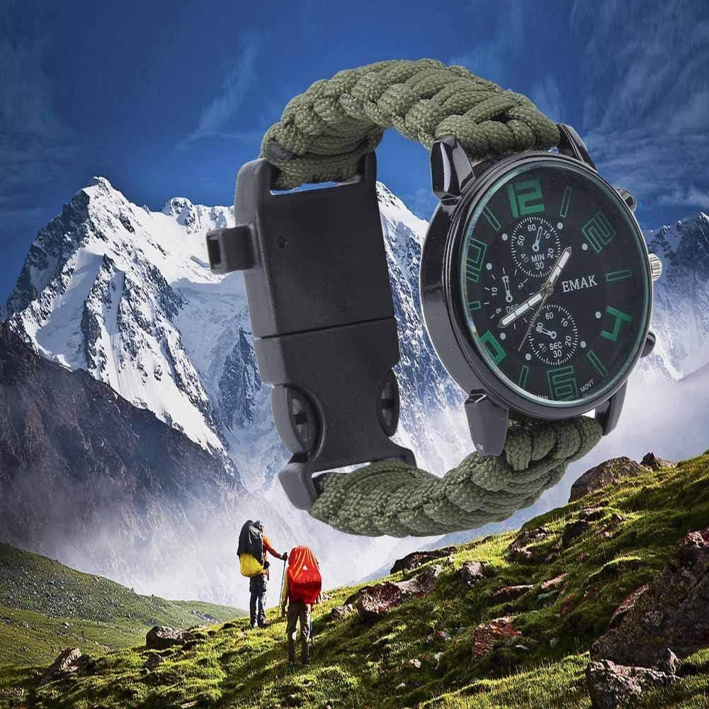 Montre De Survie en Plein Air Imperm/éable pour Le Bracelet De Sauvetage De Paracord De Camping Vbestlife 6 en 1 Montre De Survie Multifonctionnelle