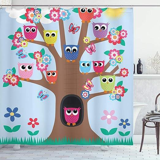Cartoon Owls Tree Shower Curtain Liner Bathroom Mat Set Waterproof Fabric Hooks