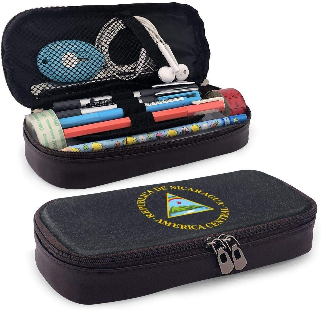 Emblema nacional de Nicaragua Estuche de cuero con cremallera Estuche de lápices Bolso de bolígrafo para útiles escolares Artículos de oficina Estudiantes