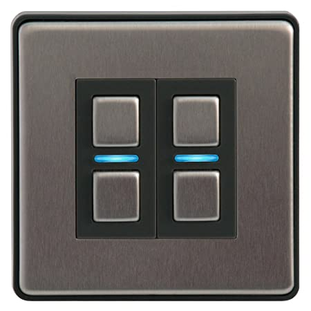 Lightwave 2 Gang Smart Dimmer Switch - Stainless Steel: Amazon.co.uk ...