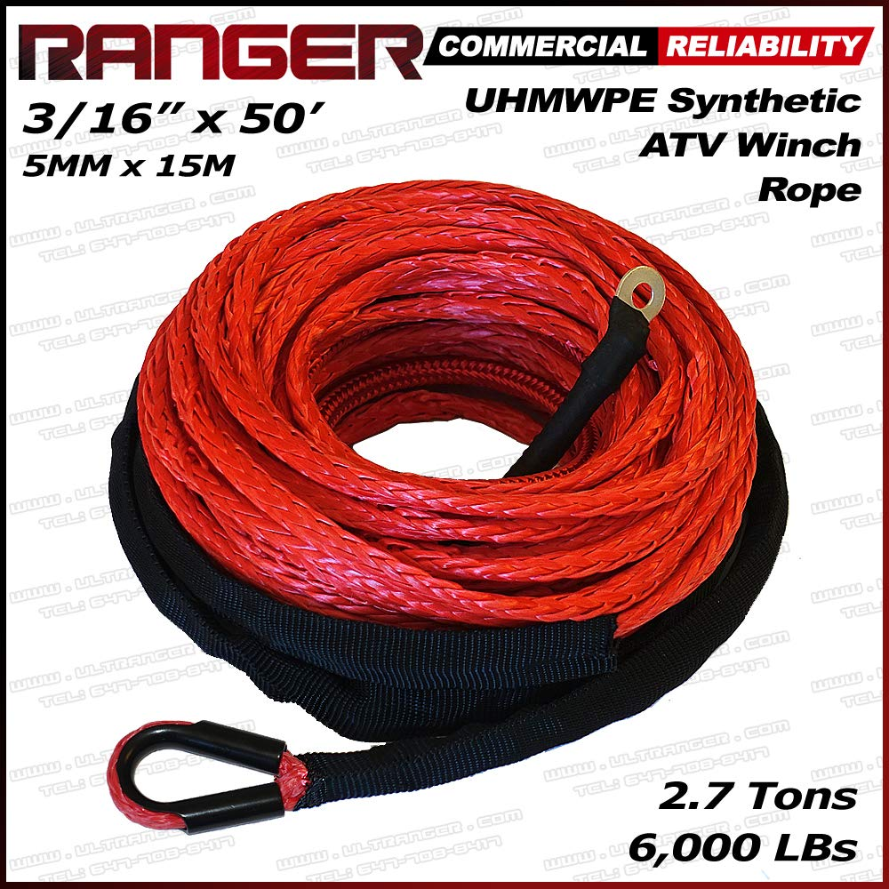 Ranger 6, 000 LBs 3/16' x 50' Synthetic Winch Rope 5 MM x 15 M for ATV Winch 000 LBs 3/16 x 50' Synthetic Winch Rope 5 MM x 15 M for ATV Winch RANGER ULTRANGER T&HI-B07DKYG9F6