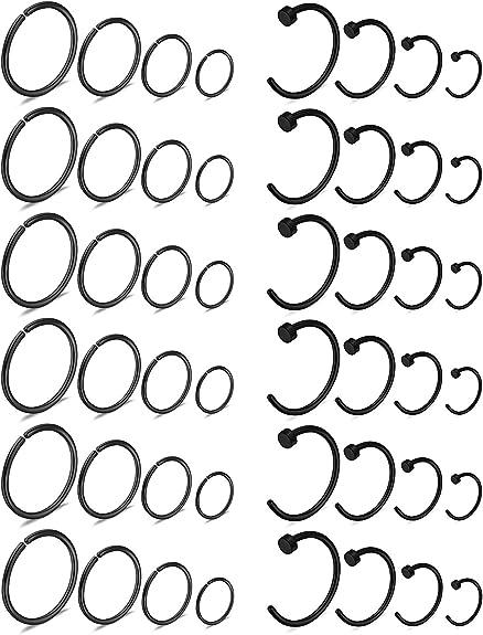 Sold Each Luxemodz Double Hoop Nose Ring For Single Piercing 20ga 18ga
