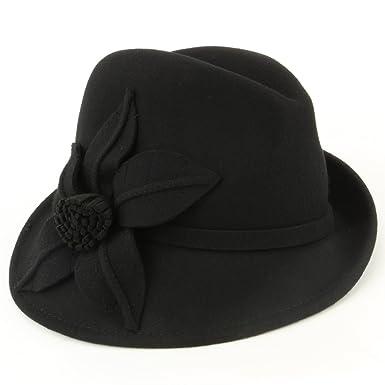c7a99139315 Hawkins Black 100% Wool asymmetrical brim trilby hat with large flower -  (57cm)