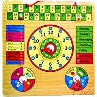 Saiyanshi Wooden Clock & Calender Board for Kids