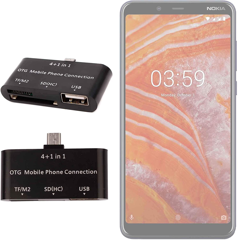 DURAGADGET Lector De Tarjetas para Smartphone Nokia 3.1 Plus OTG 4 ...