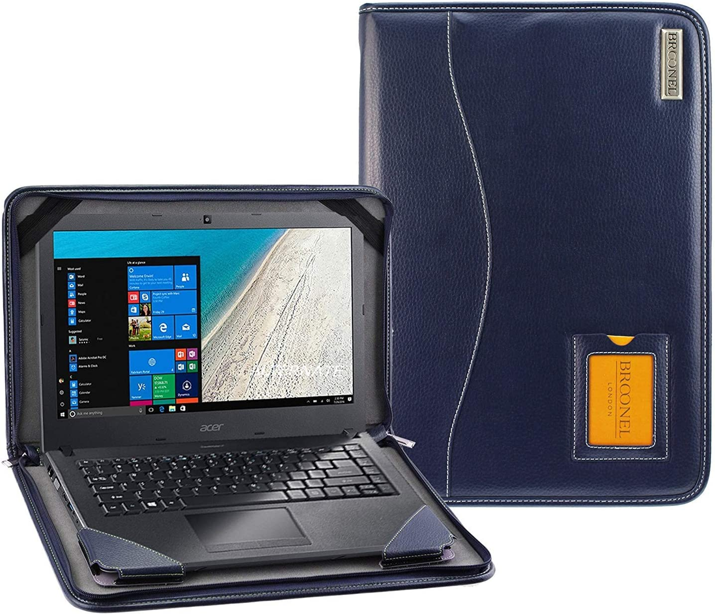 Broonel - Contour Series - Blue Heavy Duty Leather Protective Case Cover Compatible with The Acer TravelMateSpin B1