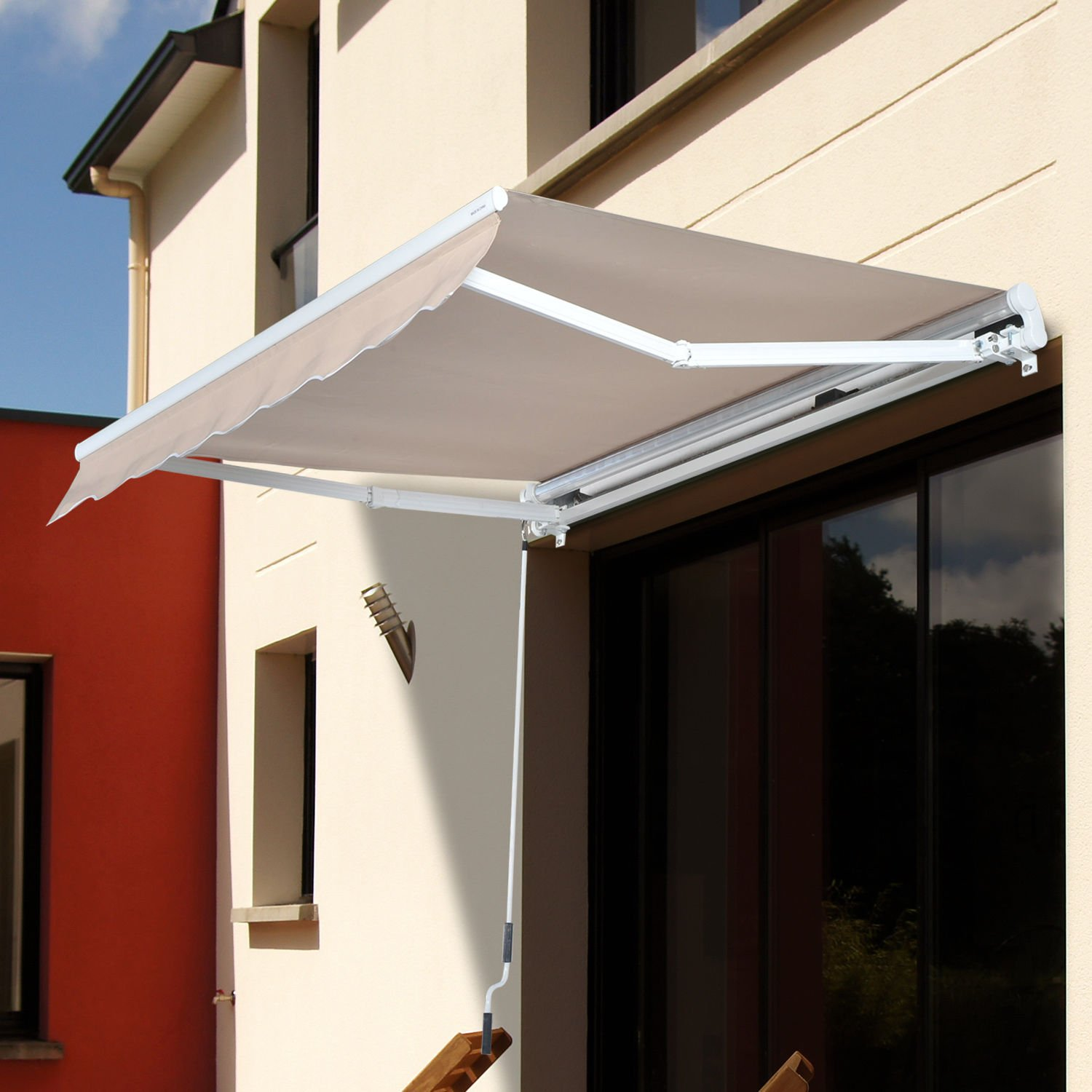 Outsunny 8' x 7' Patio Manual Retractable Sun Shade Awning - Cream by Outsunny (Image #2)