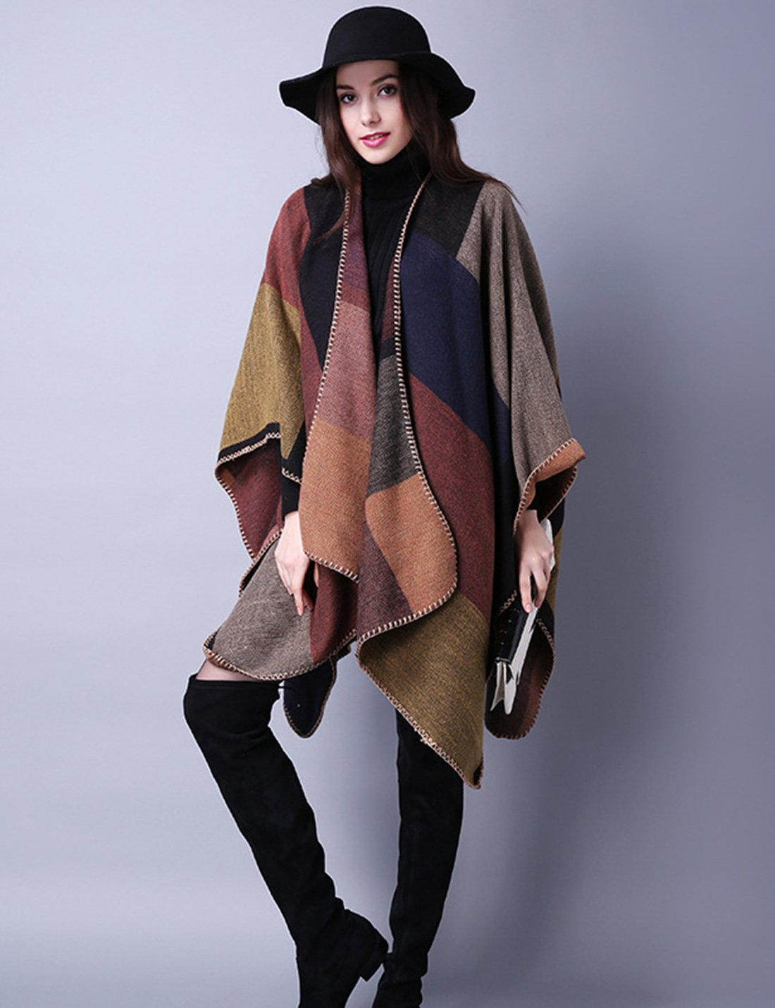 Gihuo Women's Color Block Plaid Open Front Shawl Poncho Cape Wrap Cardigan (Khaki) by Gihuo (Image #5)