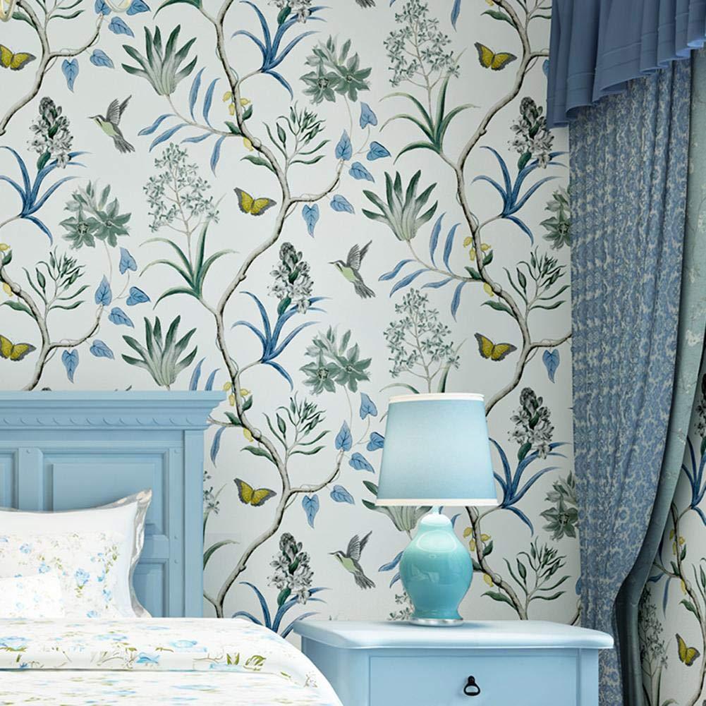 Presentimer Fondos r/ústicos Florales de /época Estilo Pastoral Flores y p/ájaros Papeles Pintados de no Tejido Verde Dormitorio Sala de Estar Fondo Fondos de Pantalla Art Deco Azul