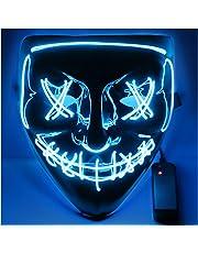 USCVIS Halloween LED Maschera, Leggero Divertente Maschere Grande Festival Cosplay Costume Supplies Festa Maschere Si Illuminano al Buio (Blu)
