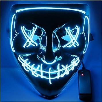 Masque Lumineux Halloween Masque Allumer Masques Halloween Cosplay LED Masque Lumineux pour D/écoration F/ête Festival Night-Club Masquerade Carnaval Soir/ée Sinwind Masque Halloween LED Rouge