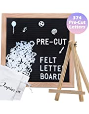Black Felt Letter Board 10x10 Inches with 374 3/4'' Pre-Cut White Plastic Letters. Changeable Letter Board with Stand Easel + 2 Drawstring Pouches Changeable Message Board with Letters Office Business Sign Boards Home Decor Felt Board