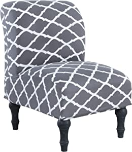 NIBESSER Armless Chair Slipcovers, Accent Chair Cover Stretch Textured Plaid Water-Repellent Chair Covers Furniture Protector Covers Removable Washable for Living Room Hotel (Gray Geometry)