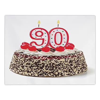 IPrint Rectangular Satin Tablecloth90th Birthday DecorationsBirthday Cake With Cherries Burning Candles Number