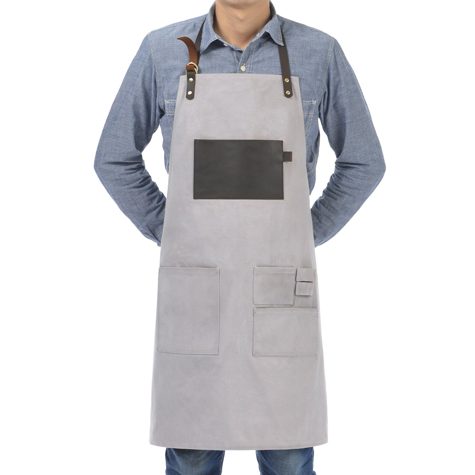 VEEYOO Heavy Duty Waxed Canvas Utility Apron with Pockets, Adjustable Shop Work Tool Welding Apron for Men and Women, Light Gray, 27x34 inches by VEEYOO