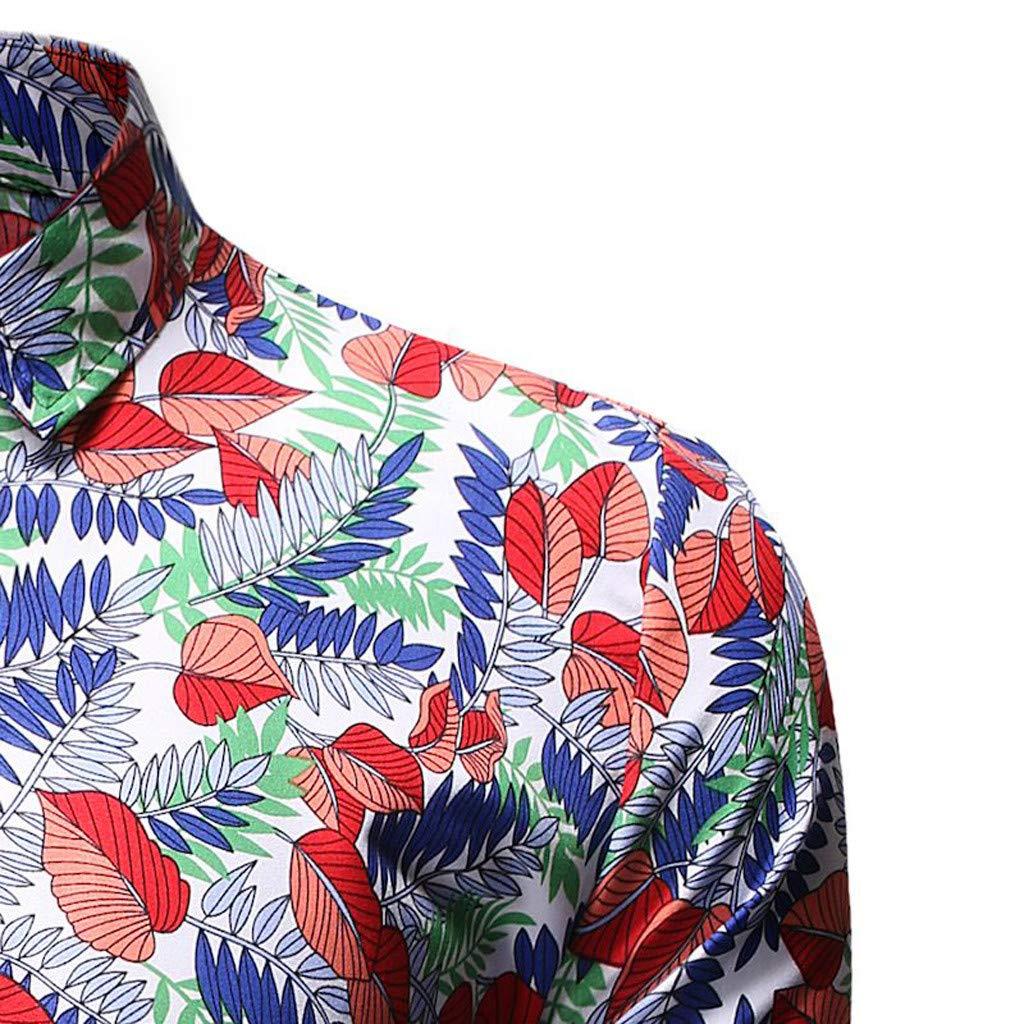 FIN86 Mens Fashion Hawaiian Style Leisure Printing Long-Sleeved Shirt Tops Blouse