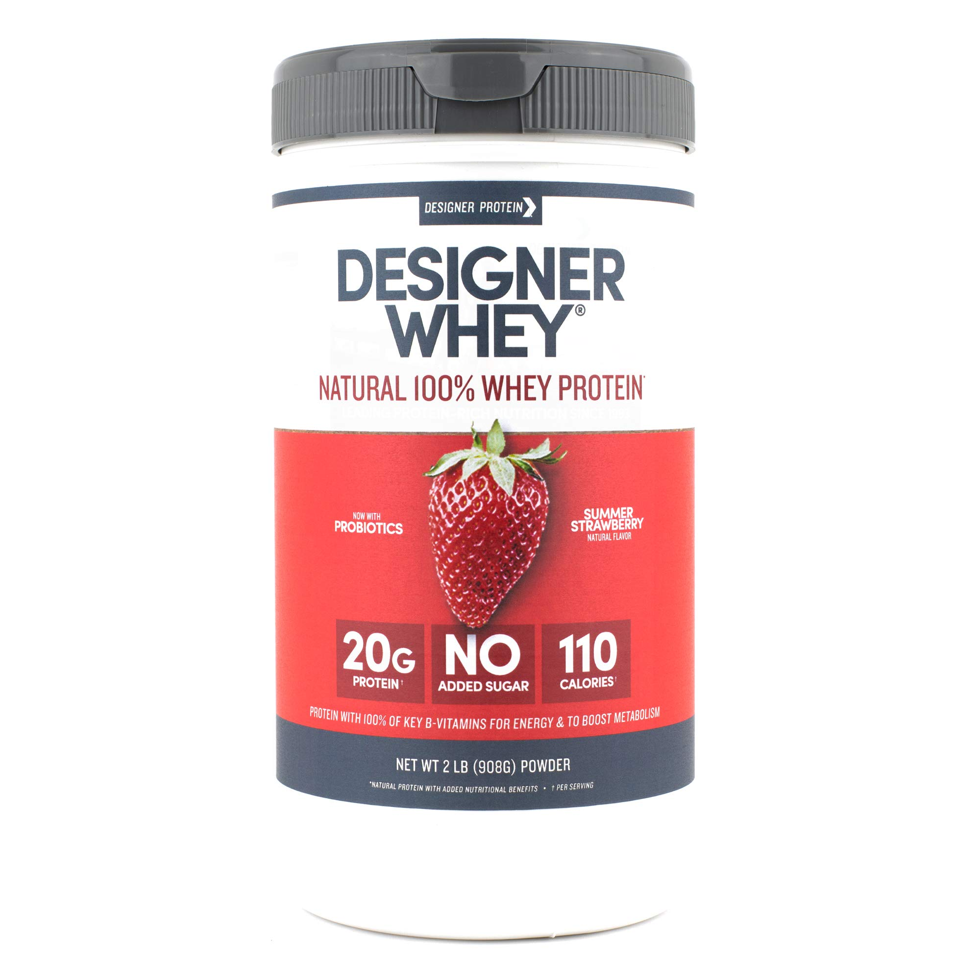 Designer Whey Protein Powder, Summer Strawberry, 2 Pound, Non GMO by Designer Protein